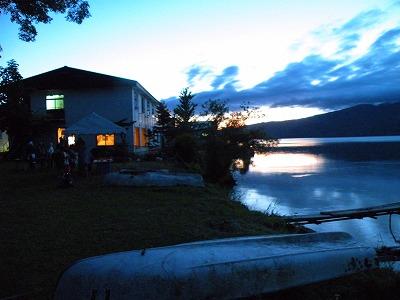 屈斜路湖の夕暮れ、7月13日