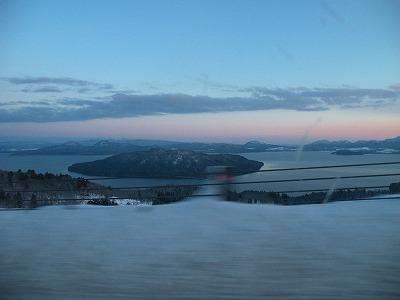 冬の美幌峠の落日