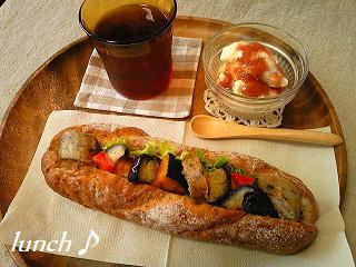 自家製ソーセージと元気野菜のサンド