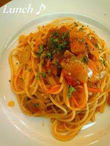 挽肉と大葉のトマトスパゲッティ