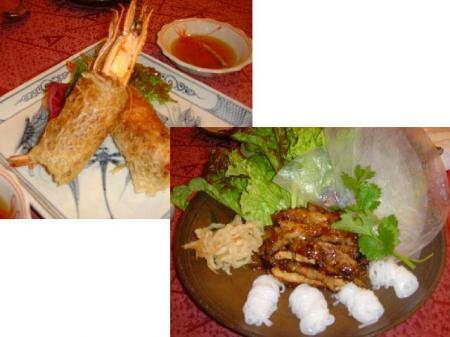 えびの春巻きとベトナム風焼肉