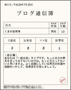 くまの通信簿