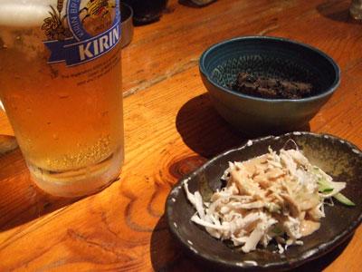 ほの字 恵比寿店 ビールと突出し