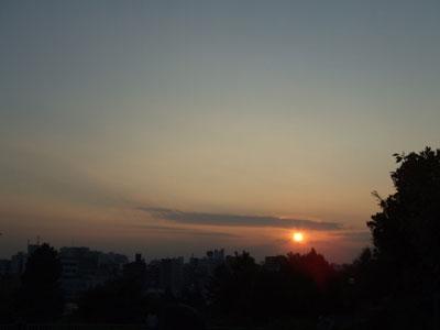 西郷山公園の夕日