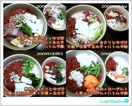20091118(水)~20091121(土)夕飯
