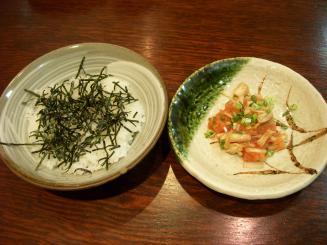 AROMA DINING(帆立の明太子和えとのりごはん¥1000)