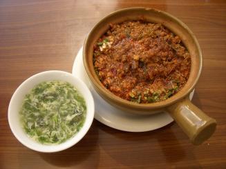 五指山(麻婆土鍋ご飯(スープ付)¥850)
