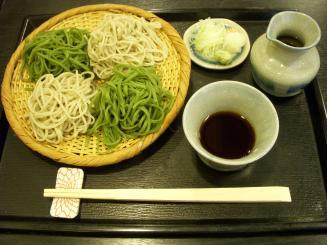 松翁(二色もり(並そば・挽茶切り)¥1050)
