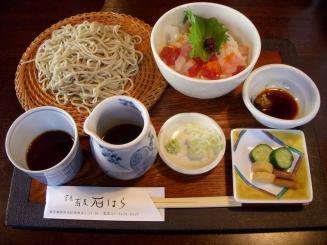掌庵蕎麦 石はら(10周年記念ランチAセット(海鮮丼・蕎麦)¥1000)