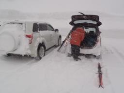 吹雪の中での用意