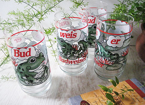 Vintage Budweiser Frogs Glass Tumbler