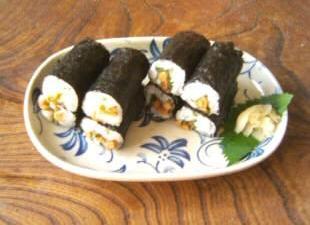 鰹節と納豆の海苔巻き12