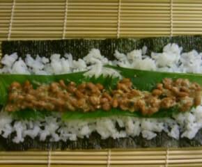 鰹節と納豆の海苔巻き11