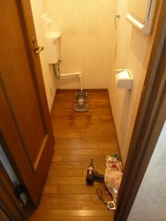 排便管と洗面ボールの配水管の接続