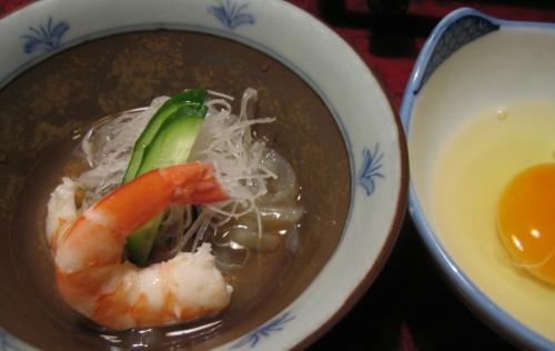 酢の物と牡蠣鍋用の卵