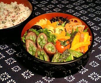 牛肉の隠元巻 甜麺醤風味