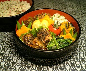 かじき鮪の黒胡麻味噌焼き