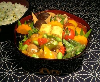 肉団子の夏野菜入りあんかけ