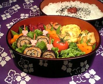 挽肉と彩り野菜の磯辺巻き