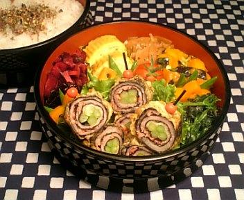 豚肉のアスパラ&紅生姜揚げ