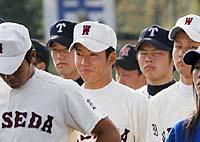 国体・高校野球の開会式で、笑顔を見せる早実の斎藤投手