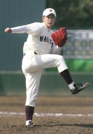 青学大とのオープン戦の9回に登板した早大・斎藤は2奪三振で無安打無失点と好投