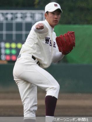 <早大・JFE東日本>8回から早大4番手として登坂した斎藤