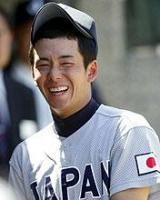 米国西部選抜対日本選抜 試合前、笑顔を見せる斎藤(撮影・田崎高広)