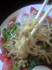 夏そば 麺と肉みそのアップ 麺丸@鶴見