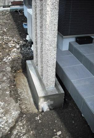 御影石門柱コンクリート基礎