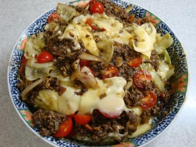 挽肉とキャベツのカレー風味チーズ焼き(完成)