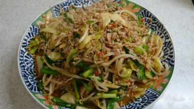 豚挽肉と野菜の炒め