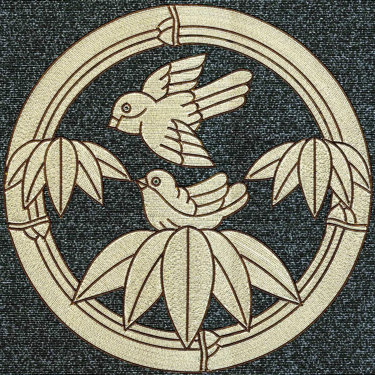 竹に雀紋 竹輪 つがい
