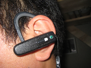BluetoothヘッドセットSONY装着