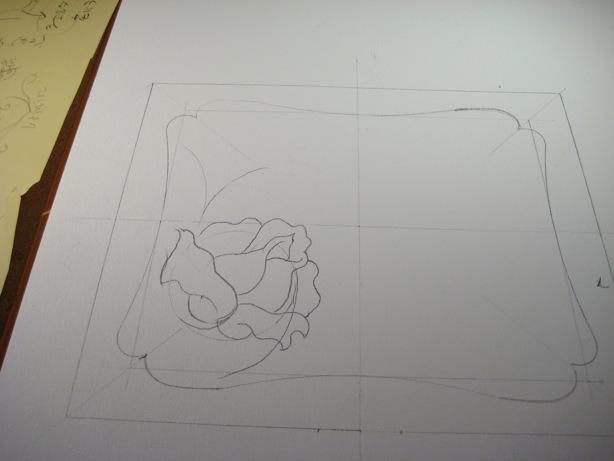 革カード入れバラの花書き入れ