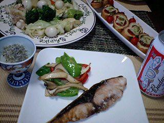 ぶり焼きと八宝菜