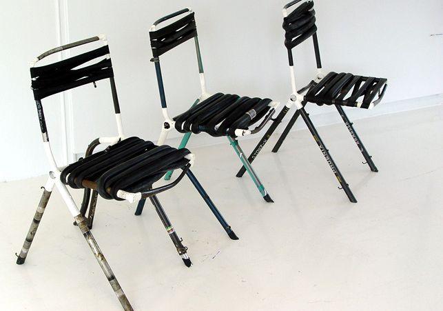 廃自転車を使った椅子