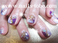 紫斜めフレンチ&SNOW