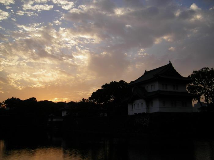 皇居外苑夕日