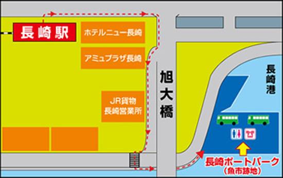 魚市跡地までの地図