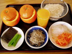 「伊予柑御飯」材料