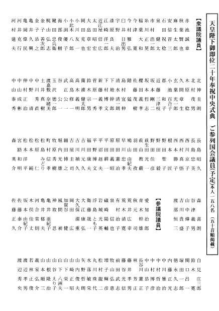 平成20年12月19日奉祝中央式典出席国会議員リスト