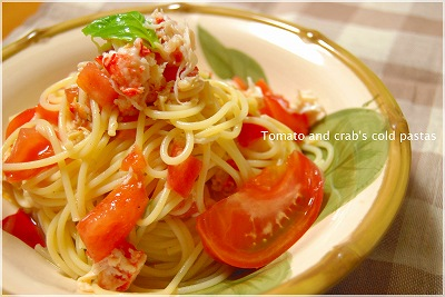 Tomato and crabs cold pastas