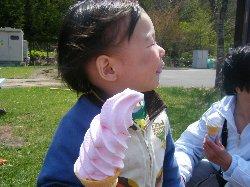ピンクのソフトクリーム