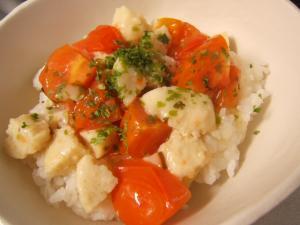 トマトと鶏団子のあんかけご飯