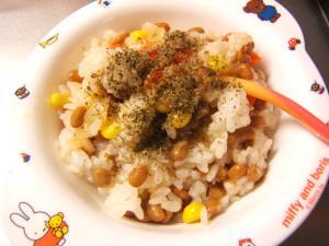 納豆とミックスベジタブルの雑炊