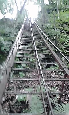 十和田神社湖面からの梯子