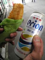黒門市場 名物大穴子てんぷらとオリオンビール