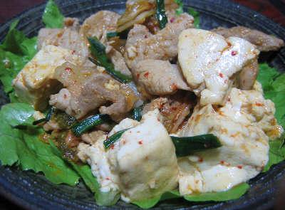 豚豆腐ニラキムチ炒め