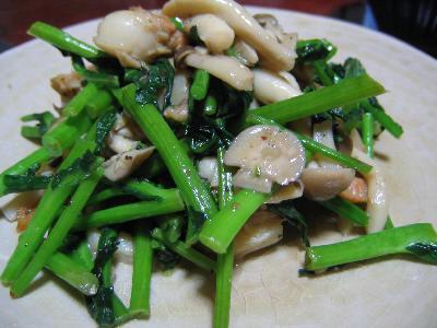 ホタテと菜花の炒め物